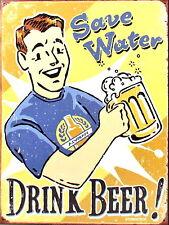 Guardar Agua Bebida Cerveza Retro Vintage Signo de Metal de Aluminio Bar Pub signos Cueva de hombre