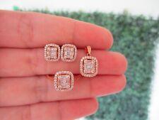 1.05 CTW Diamond Earrings,Ring&Pendant Set 18k Rose Gold JS46 sep