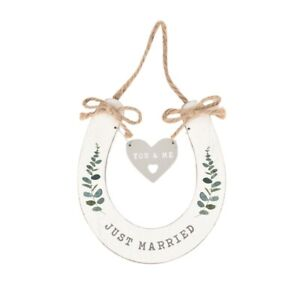 """Wedding  """"You & Me""""'Just Married' Wooden Horseshoe with Vine Shabby Chic Jute"""