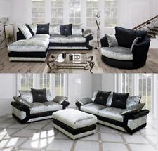 Vegas Milo Corner Sofa Collection Set Crushed Velvet Black-Silver Brown-Mink
