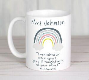 Personalised Printed Mug, Christmas teacher gift rainbow taught heart lockdown