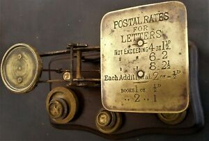 Vintage 1940's Post Office Letter Scales + nine solid Brass Weights