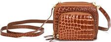 RAPHAEL Crocodile Alligator Cognac Tan Mini Me Bag/Wallet Exotic Leather Italy