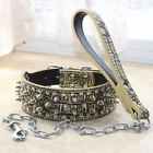Spiked Studded Leather Large Dog Collar + Chain Leash set 10 Colors Sizes S - XL