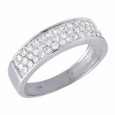 10K White Gold Diamond Wedding Band Engagement Anniversary Pave Ring 0.51 Ct