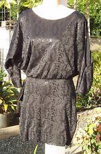 NWT Bebe Addiction Black Sequin Kimono Cold Shoulder Dress XS NEW