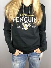Pittsburgh Penguins Women's Hooded Long Sleeve T-shirt Black (Women's S,M,L,Xl)