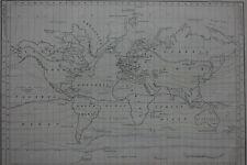 Mapa del mundo antiguo original, gráfico de líneas isotérmica, un & C Negro, c.1850