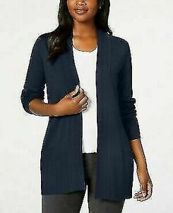 Karen Scott Women's Draped Open Front Cardigan Dark Blue Size Small