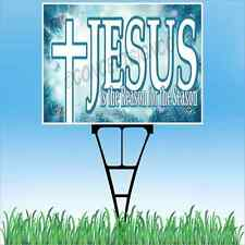 """18""""x24"""" JESUS IS THE REASON FOR THE SEASON Outdoor Yard Sign & Stake Lawn Church"""