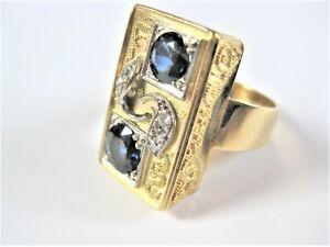 Ring Gold 585 mit Safiren und Diamanten, 8,98 g