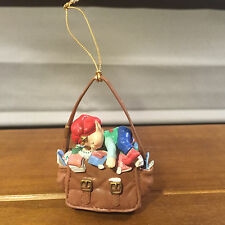 Used 1992 Lustre Fame Young Elf Boy Sleeping in Mail Bag Ornament