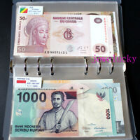 100 PCS World Banknotes Uncirculated Collections Countries Flags With Album Book