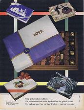 PUBLICITE ADVERTISING 074 1957 KHOLER chocolat de grande classe