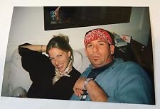 Vintage 90s PHOTO Dirty Blonde Hair Woman & Man In Red Bandana On Couch