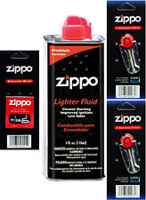 Zippo Lighters 4oz Fuel Fluid and 2 Cards Flint (12 Flints) & 1 Wick Value Pack