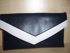 NAVY BLUE AND WHITE faux leather envelope clutch bag fully  lined BN,