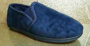 EX-PADDERS MENS SLIPPERS - EDWARD - SIZE 8 - NAVY SUEDE - BRAND NEW