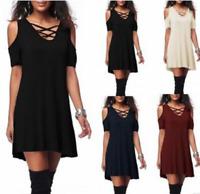 Women Off The Shoulder Loose Short Dress V Neck Baggy Tops Casual Shirt Dresses