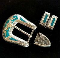 VTG Ranger Sterling Silver Turquoise 4 Piece Belt Buckle GF15 Mexico 925 Native