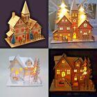 Christmas Ornamental Wooden Church Village Scene Pre-Lit LED Xmas Decoration NEW
