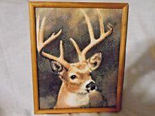 Framed Handmade Wildlife Art Antlered Majestic Buck Picture  With Vinyl Pixils
