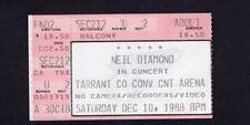 Original 1988 Neil Diamond concert ticket stub Fort Worth TX Best Years