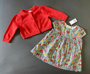 Baby Girl 3-6 Month Baby Gap Multicolored Floral Print Dress & Red Knit Cardigan