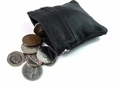 Mens Ladies Kids Black Genuine Leather Coin Pouch Purse Wallet Credit Card