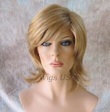 Medium Wig Strawberry Blonde Mix Long Bangs Flicked Back Ends Deidre Wigs US