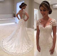 Backless Lace Mermaid Wedding Dresses V-Neck Short Sleeves Bridal Gowns Sheath