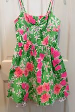 Lilly Pulitzer Pink & Green Floral Sundress w/ White Lace Petticoat, Size 2.