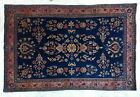 """Antique Sarouk Mohajeran Rug in French blue / coral colors 5'x3'3"""""""
