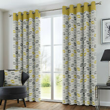 Ochre Mustard Curtains Geometric Leaf Lined Eyelet Top Ring Top Curtains Pair
