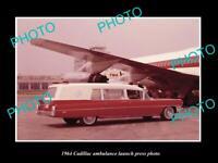 OLD POSTCARD SIZE PHOTO OF 1964 CADILLAC AMBULANCE CAR LAUNCH PRESS PHOTO