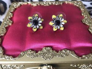 Betsey Johnson Vintage Safari Yellow Black Crystal Flower Floral Stud Earrings