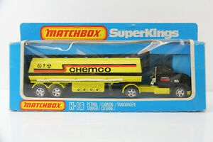 VINTAGE MATCHBOX K-16 PETROL TANKER TRUCK CHEMCO 1981 SUPER KINGS DIE CAST BOX