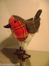 CHRISTMAS PARTRIDGE PLUSH BIRD NOVA CHECK STYLE GREY W/ RED PLAID HOLIDAY DECOR
