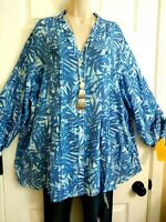 Ruby Rd. NWT Rounded Hem Pleat Roll Tab Sleeves Tunic Top Plus 2X Shades of Blue