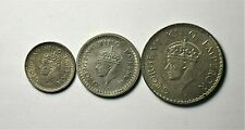 A group of 3 British India One, Half and Quarter Silver Rupee. 1940B & 1944B