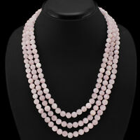 BUYERS FAVOURITE 519.00 CTS NATURAL 3 LINE PINK ROSE QUARTZ ROUND BEADS NECKLACE