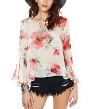 Women' Summer Shirt Shirt Sexy Blouse Chiffon Long Sleeves Size Medium Top