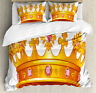 Queen Duvet Cover Set with Pillow Shams Crown Tiara with Gems Print
