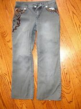 "Women's""A.Z,I""Embellished Beads Stretch Blue Denim Grayish color Jeans size 8"