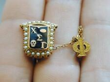 Rare Chi Sigma Gamma 14K Gold Seed Pearl Fraternity Pin w/Phi Chapter Guard