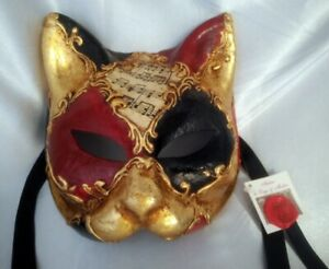Atelier di Lago & Molin Black/Red/Gold Venetian Papier Mache Cat Mask (w/ Tag)