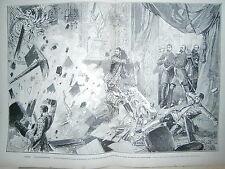 Gravure 19° Russie St Pétersbourg le Tsar sa famille explosion  palais d'hiver
