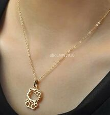 18K GP Rose Gold Hollow out lucky cat Necklaces Pendants