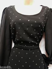 BNWT NEXT NEW LADIES RRP 45 black studs chiffon shift  ocassion dress size 10/12