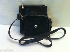 MNG Mango Black Faux Leather Small Cross Body Messenger Bag Purse